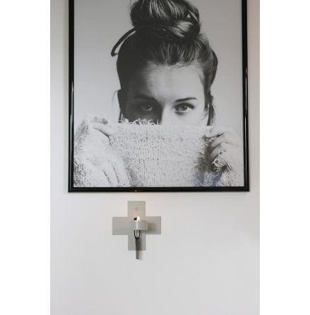 Väggljusstake kors, grå