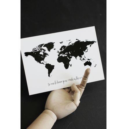 """Vykort världskarta """"Be sure to leave..."""""""